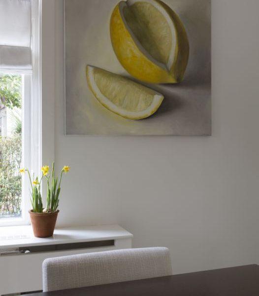 Interieur schilderij Citroen nr6, olieverf op doek, 100 x 100 cm, Serge de Vries