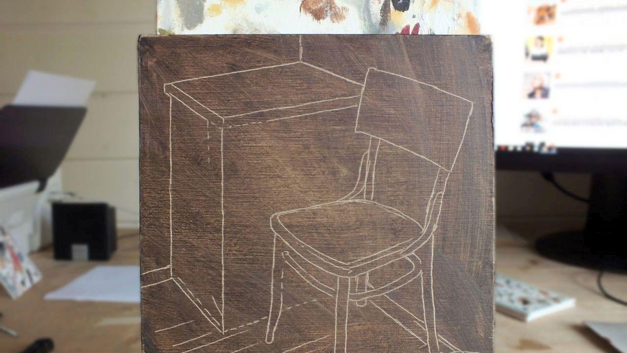 Schets schilderij Lege stoel met lichtval, Serge de Vries