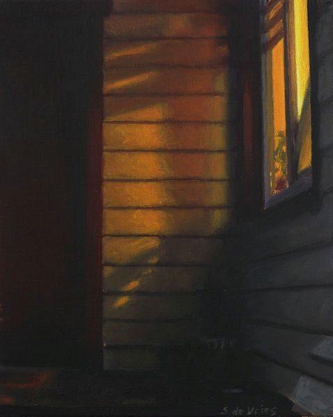 Schilderij Voordeur, olieverf op paneel, 16 x 13 cm, Serge de Vries