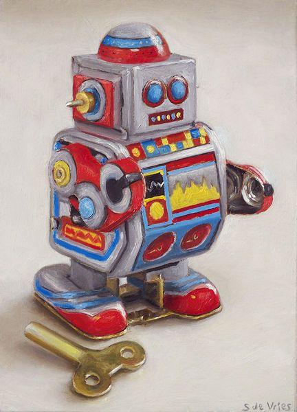 Schilderij Robot nr3, olieverf op paneel, 18 x 13 cm, Serge de Vries