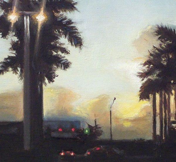 Detail schilderij Kruispunt, olieverf op paneel, 18 x 14 cm, Serge de Vries