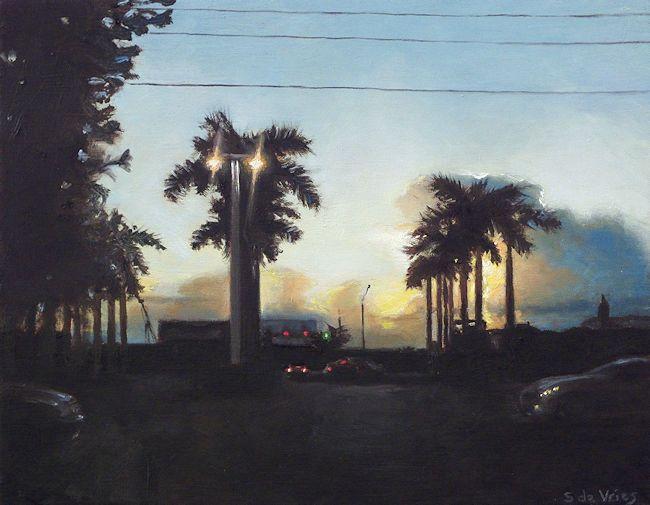 Schilderij Kruispunt, olieverf op paneel, 18 x 14 cm, Serge de Vries